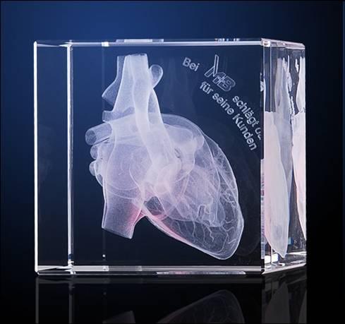 Tombstone mit einer individuellen und kundenspezifischen 3D innen Gravur als Werbemittel Werbeartikel Werbegeschenk für Firmen und Unternehmen
